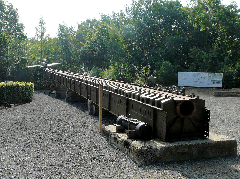 V1 missile on launching ramp at Blockhaus Eperlecques in northern France.