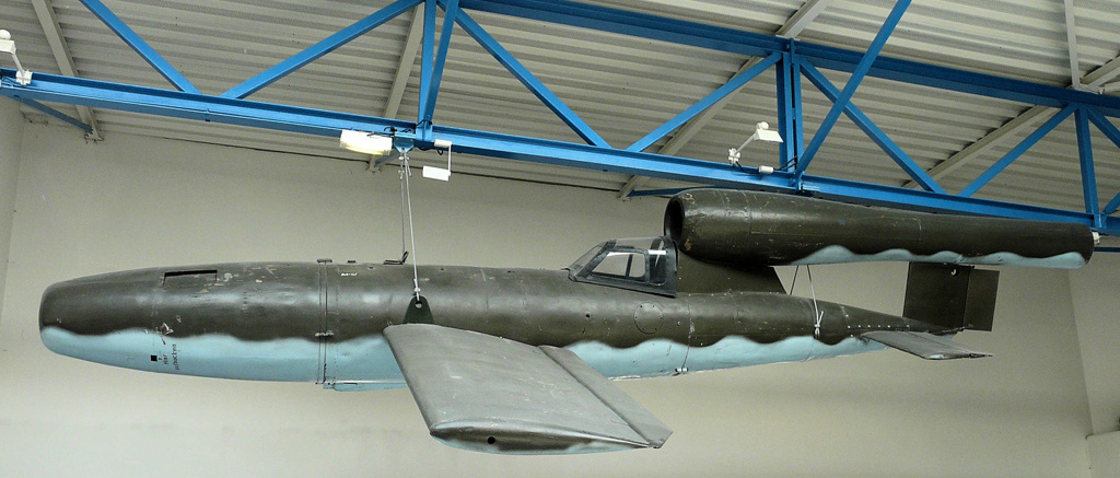 Fieseler Fi 103R (Reichenberg), manned version of the V-1 flying bomb (La Coupole Museum, Wizernes, Northern France.