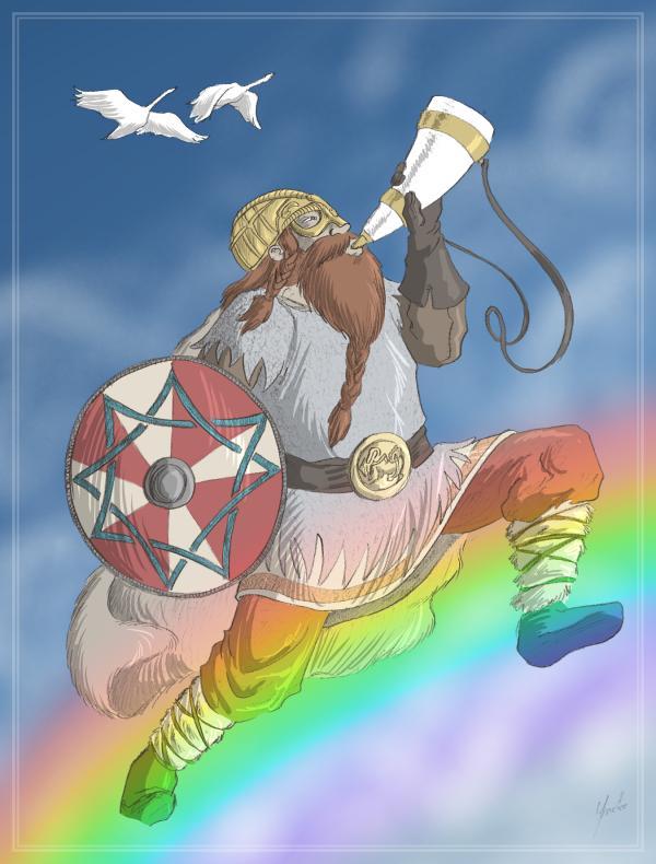 Heimdall blowing a horn